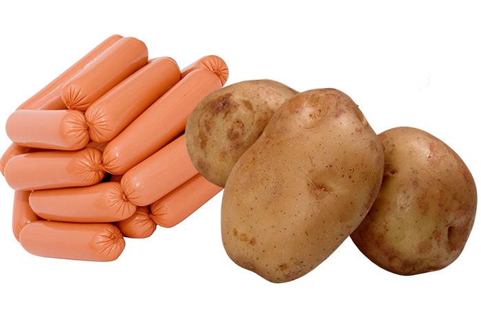 картошка и сосиска