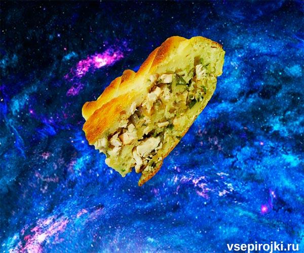 пирог заливной с куриной грудкой фото