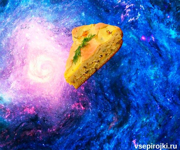 заливной пирог на кефире с курицей и картошкой фото