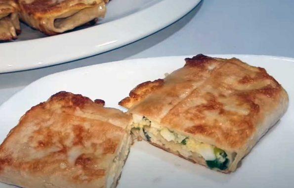 Пирожки с луком и яйцом из лаваша
