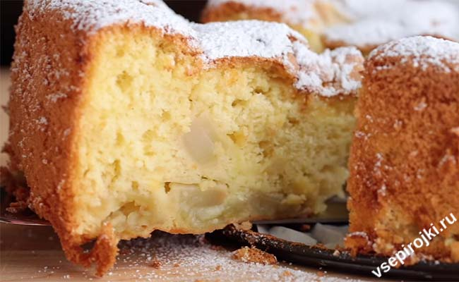 шарлотка с сахарной пудрой вместо сахара